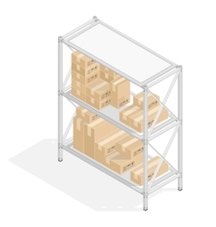 Storage shelves with cardboard boxes vector image