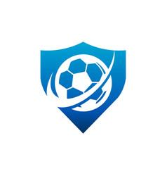 swoosh soccer football shield logo icon vector image