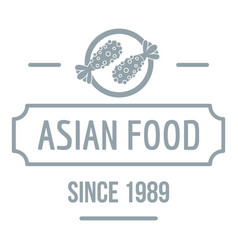 Thai asian food logo simple gray style vector