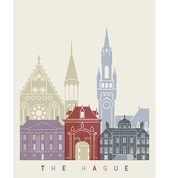 the hague skyline poster vector image