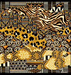traditional african fabric and wild animal skins vector image