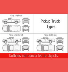 truck pickup types template drawing vector image