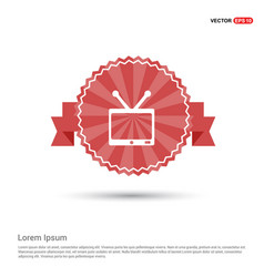 tv icon - red ribbon banner vector image