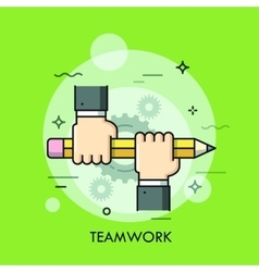 Two people holding pencil together Teamwork vector