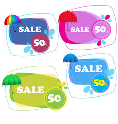umbrella stickers collection isolated on white vector image