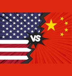 Usa versus china flag vector