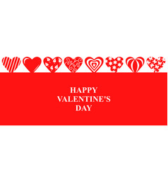 valentines day banner with decorative hearts vector image
