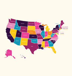 vintage colorful united state america map vector image