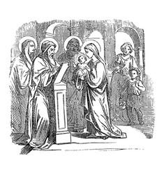 Vintage drawing biblical story baby jesus vector