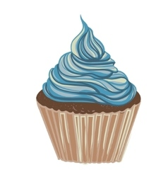 Vintage drawing cupcake vector