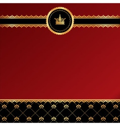 Vintage red background with golden ornamental vector