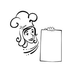 Waitress with menu vector image