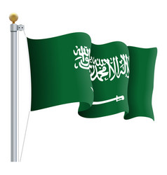 waving saudi arabia flag isolated on a white vector image