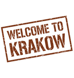 Welcome to krakow stamp vector