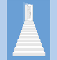 white stairs and open door isolated vector image