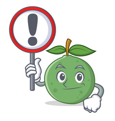 With sign guava character cartoon style vector