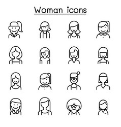 woman girl lady female mom icon set in thin line vector image