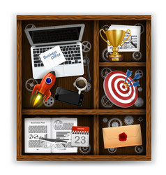 wooden box with items of business office vector image