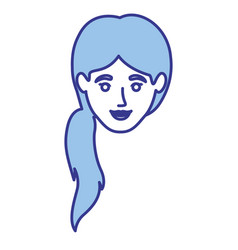Blue silhouette of woman with ponytail hairstyle vector