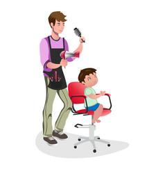 children barber with little boy vector image vector image