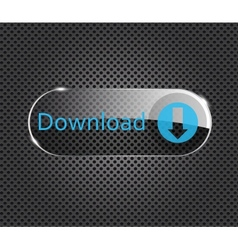download glass button on metal background vector image vector image
