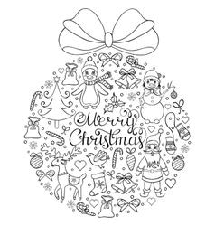 hand drawn christmas pattern vector image