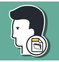 silhouette folder files icon vector image