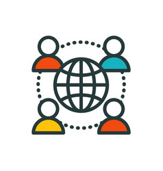 thin lines connection people group icon outline of vector image