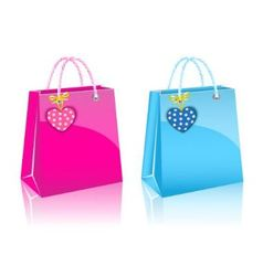 Two valentines day rore paper shopping bag vector