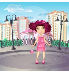 city promenade with a teen girl in a pink dress vector image