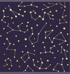 Constellations seamless pattern golden stars vector