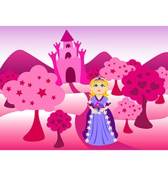 Princess and pink castle landscape vector image