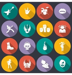 Rock music icons flat vector image vector image
