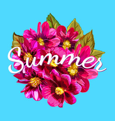 Summer lettering on abstract hand painted floral vector