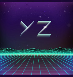 80s Retro Futurism Geometric Font from Y to Z vector image vector image