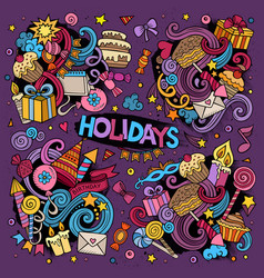 colorful set of holidays doodles design vector image