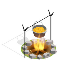 isometric bonfire burning on firewood in the camp vector image