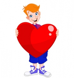kid holding heart vector image vector image
