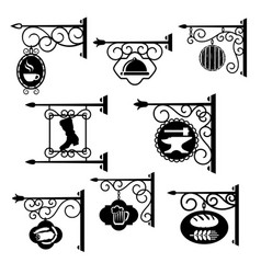 shop and workshop metal forged signs icons vector image