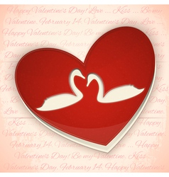 Valentines Card Heart with Swans vector image vector image