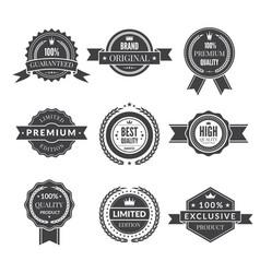 vintage template of monochrome premium labels for vector image