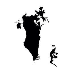 Black silhouette country borders map of bahrain vector