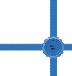 Blue Wax Seal with Bow vector image