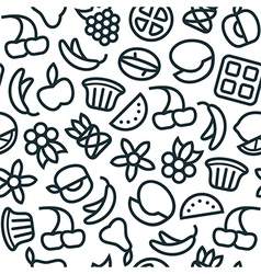 Fruit seamless pattern in thin line style vector image