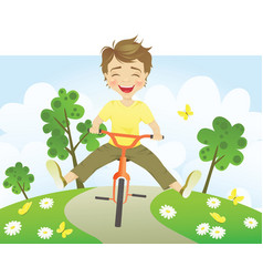 Fun riding bike vector image vector image