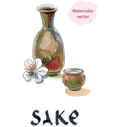 sake saki bottle and cup japanese liquor vector image vector image