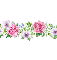 seamless floral background in watercolor style vector image vector image