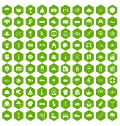 100 hat icons hexagon green vector