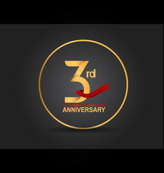 3 anniversary design golden color with ring vector