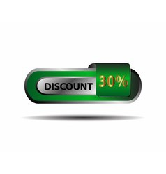 30 percent discount green gold button vector image